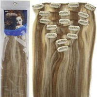 "20"" Clip in Remy Human Hair Extensions Light Brown with Bleach Blonde 7pcs 70g"