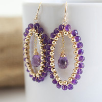 Amethyst Dangle Earrings, Amethyst and Gold Earrings, Purple Earrings, Purple and Gold Earrings, Large Earrings, Wire Wrapped Earrings