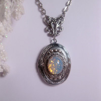 White Sea Opal Necklace - Blue Opal Locket