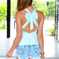 Light Blue Sleeveless Peplum Top with Cross Bow Back