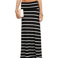Black/White Striped Maxi Skirt