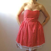 Pin up Doll dress Red w/ White Polka Dots S by Julbyjuliagasin