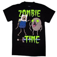ADVENTURE TIME T-SHIRT ZOMBIE TIME FINN JAKE LICENSED ADULT MEN'S S M L XL 2XL