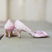 Wedding Shoes - Light Pink Wedding Heels, Pink Bridal Shoes with Ivory Lace. US Size 8