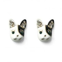 Black and White Dog Head Shape Crystal Earrings