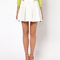 ASOS Structured Skater Skirt with Zips at asos.com
