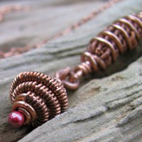 Wire Wrapped Copper Necklace With Front Clasp Layered Pendant
