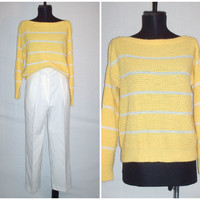 Vintage 1980s Yellow Sweater White Stripes