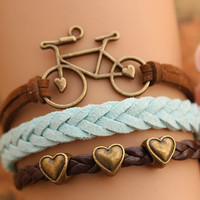 bike bracelet,retro bronze love bike with love heart Pandora bead,alloy bracelet,brown leather green braid bracelet---B216