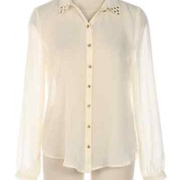 High-Low Stud Blouse