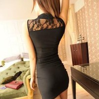 Lovely Sexy Lace Black Dress