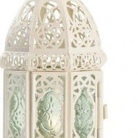Gifts &amp; Decor White Fancy Antique Lattice Candle Lantern with Stand