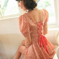 Sweet Country Girl Chiffon Dress. Pink Floral Cross Back Tea Dress