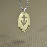 Brass oval pendant handmade anchor