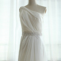 One Shoulder Chiffon Wedding Dress Bridal Gown Bridesmaid dress Beaded Sash Open See through Back Dress