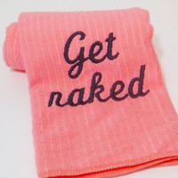 Hand Towel  GET NAKED  Pink by CyanideStitches on Etsy
