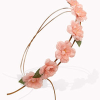 Faux Suede Rose Garland Headwrap