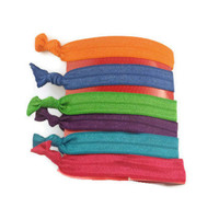 Six Elastic Hair Bands Hair Ties Bright Neon Colors