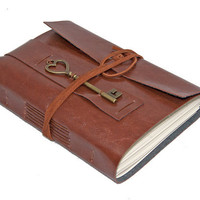 Light Brown Vegan Faux Leather Journal with Heart Key Charm Bookmark