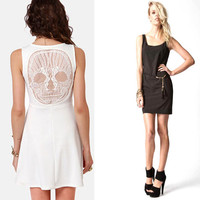 Skull Openwork Lace Sleeveless Soft Vest Dress