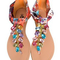 Amazon.com: Watercolor Jeweled Multi Color Ankle Wrap Zip-Up Flat Gladiator Sandals: Shoes