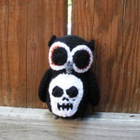 Little Black Plush Crochet Owl, with skull applique, amigurumi owl,  ready to ship.