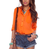 Simply Buttoned Blouse in Neon Orange :: tobi