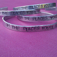 Oh The Places You'll Go Metal Stamp Bracelet by darkerblue