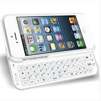 White Sliding Bluetooth Wireless Keyboard Case Cover Iphone 4/4s/5