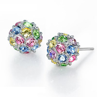 Color diamonds spherical earrings
