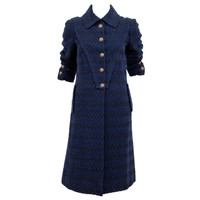 Navy Blue Wool Boucle Coat