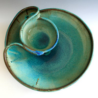 Chip and Dip handmade ceramic dish by ocpottery on Etsy