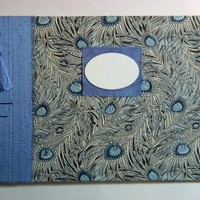 "Wedding Guest Book - Liberty Tana Lawn - ""Isis"" Peacock Feathers - 8"" X 6"" - Ready to ship"
