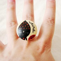 Wooden Ring Adjustable Hand Painted Weird