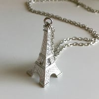Large Silver Eiffel Tower Necklace