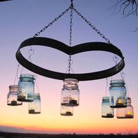 Heart Candle Mason Jar Chandelier, Wine Barrel, Ball Jar Candle Lanterns, Upcycled Lighting, Romantic Vintage Garden, Weddings