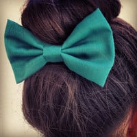 Green BIG hair bow (S-N-010)