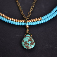 Turquoise tribal necklace, summer jewelry,multi strand