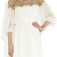 Marchesa|Embellished silk-chiffon dress|NET-A-PORTER.COM