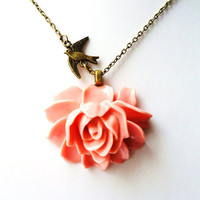 "Coral Pink Rose Necklace, Coral Flower Necklace,  Swallow Necklace, 18"" Antique Bronze Chain  - Pin Up Burlesque Vintage Style"