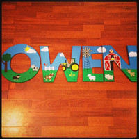 Hand painted John Deere Farm letters by CuteNCustom on Etsy