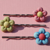 Flower Button Bobby Pins Pink Blue Green by ThatsTheCutestThing