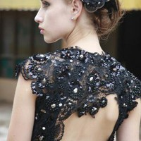 Black Pearl Laced Dress by phenomenalcouture on Etsy [sold]