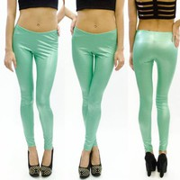 Mint Foil Liquid Matte Pastel Green Aqua Teal Leggings Pants USA Made Fashion