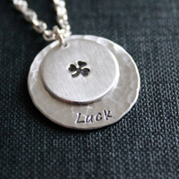 Metal Stamped Shamrock Luck Necklace