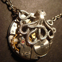 Octopus on Vintage Watch Movement with Exposed by CreepyCreationz