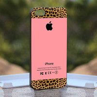Apple Pink and Leopard Print - Design available for iPhone 4 / 4S and iPhone 5 Case - black, white and clear cases