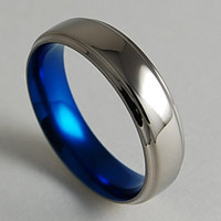 Mens Titanium Wedding Ring , Neptune Band in Nightfall Blue with Comfort Fit