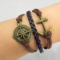 compass rudder  Bronze anchor   love bracelet Infinity Wish Bracelet  Love Bracelet  Anchor Bracelet  Friendship Bracelet