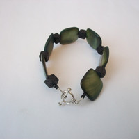 Green Mother of Pearl Shell Bracelet with Black Lava Rock - 7 Inches